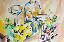 «Белое вино и сыр» 2015, холст/акрил
