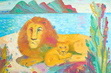 Lion with Lion-cub. 2005. Oil on canvas. 50×60
